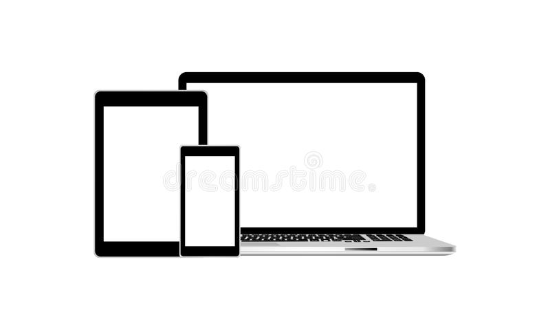 Laptop smartphone en het model van tabletpc Technologiemededeling royalty-vrije illustratie