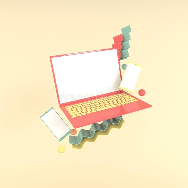 Laptop, smartphone i różny geometryczny przedmiota mockup tło w nowożytnym minimalnym stylu, Notatnik 3d odpłaca się w pastelowyc ilustracji