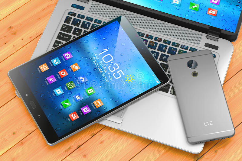 Laptop, smartphone, pad on wooden table. Mobile devices. 3d rend royalty free illustration