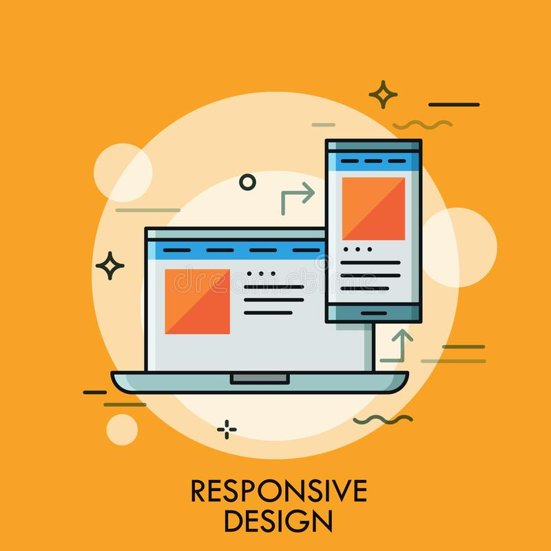 Laptop and smartphone with same application interface on screens. Concept of responsive web design, scalable page. Desktop and mobile app. Modern vector vector illustration