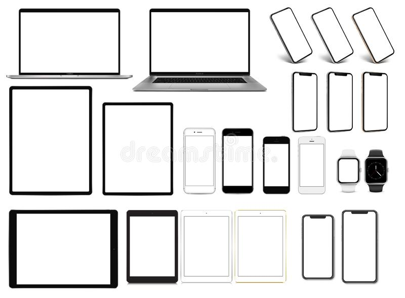 Laptop smartphone tablet pro smartwatch set of devices with blank screen template stock illustration