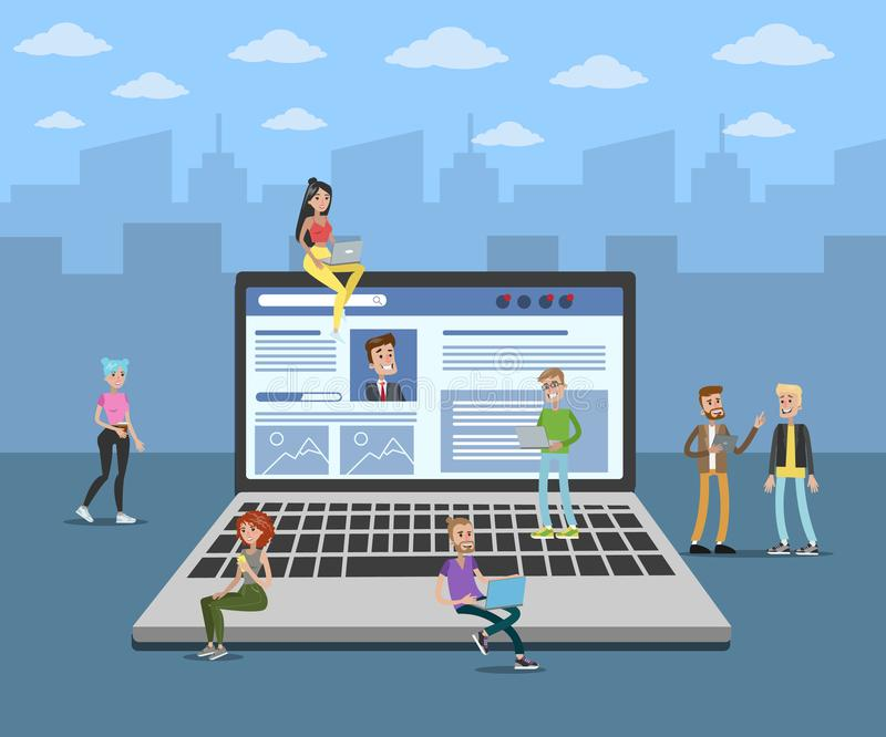 Laptop social media. People chatting and surfing the net stock illustration