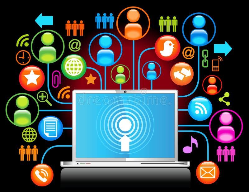 Laptop social network black. Social network, communication in the global computer networks stock illustration