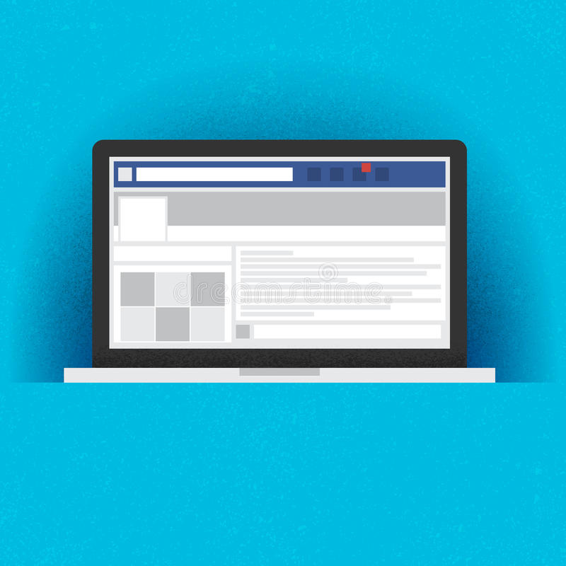 Laptop with social network internet page royalty free illustration