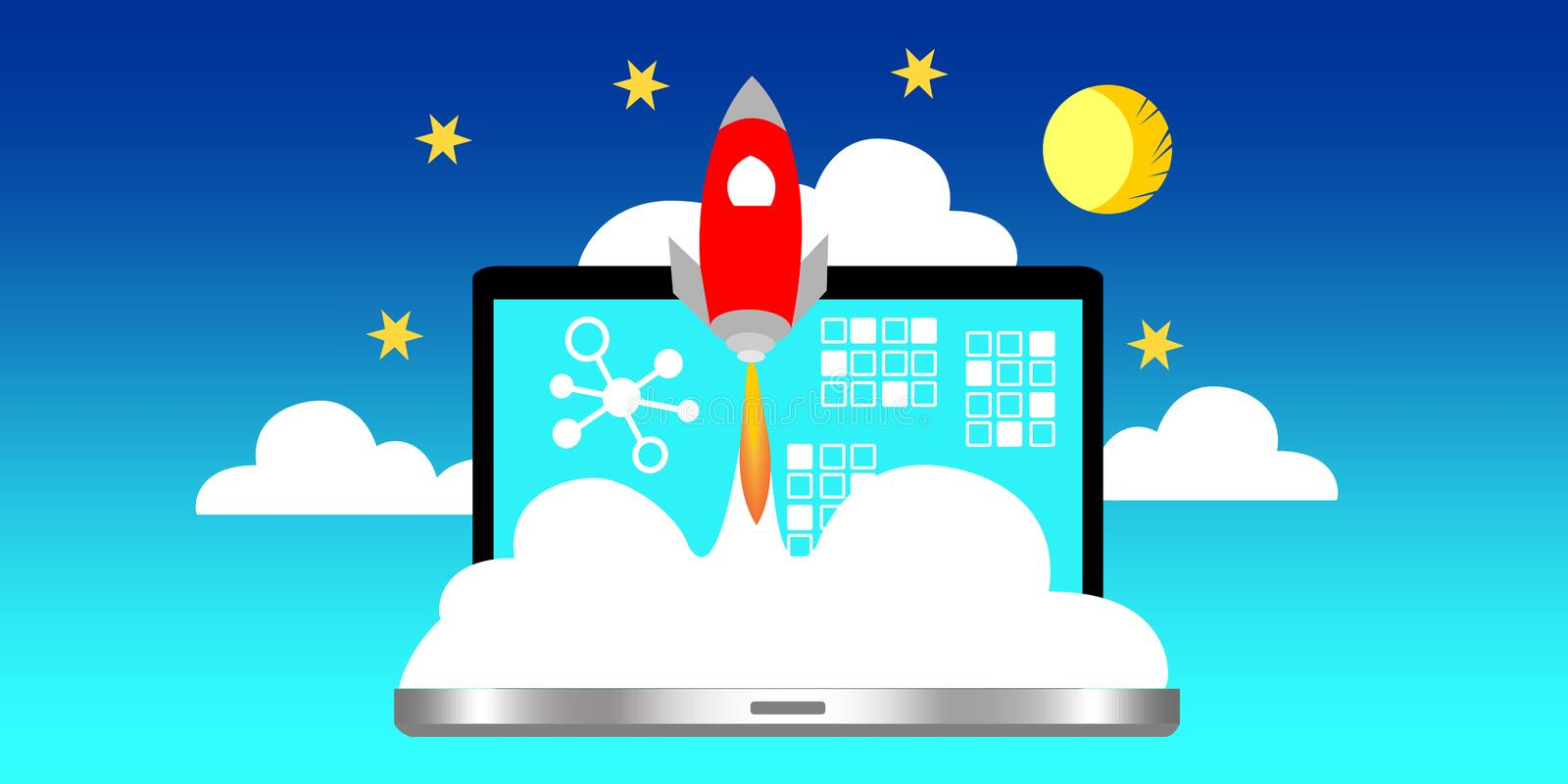 A laptop with space rocket representing launch cryptocurrency technology. stock illustration