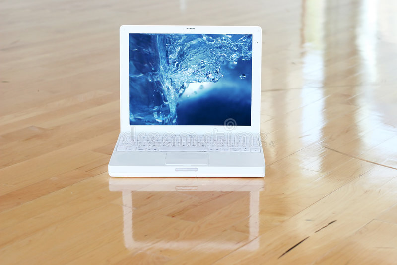 Laptop With Splash Screen stock photos