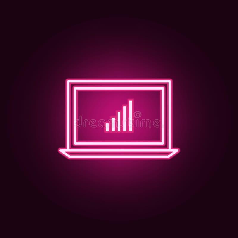 Laptop statystyk neonowa ikona Elementy online i sie? set Prosta ikona dla stron internetowych, sie? projekt, mobilny app, ewiden ilustracji