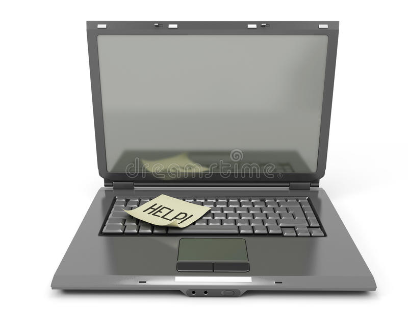The laptop with a sticker on the keyboard vector illustration