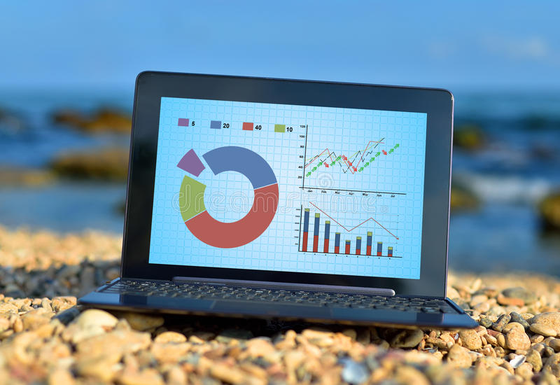 Laptop with stock chart. On a ocean background royalty free stock images