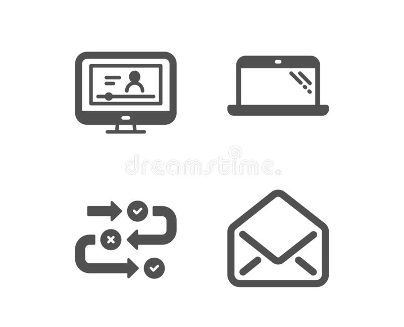 Laptop, Survey progress and Online video icons. Mail sign. Computer, Algorithm, Video exam. E-mail. Vector. Set of Laptop, Survey progress and Online video icons stock illustration