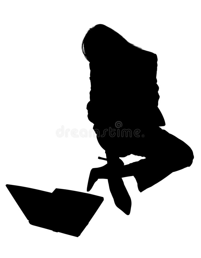 laptop sylwetki kobieta royalty ilustracja