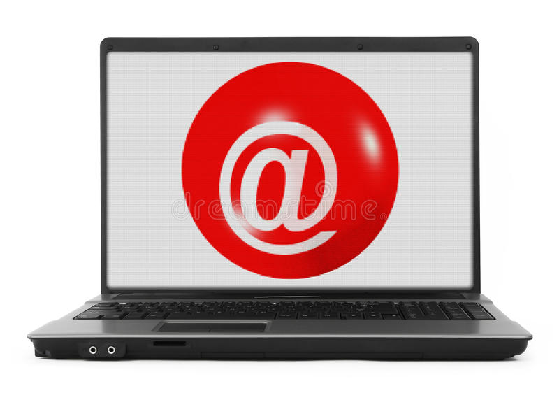 Download Laptop with @ symbol stock illustration. Image of internet - 31917552
