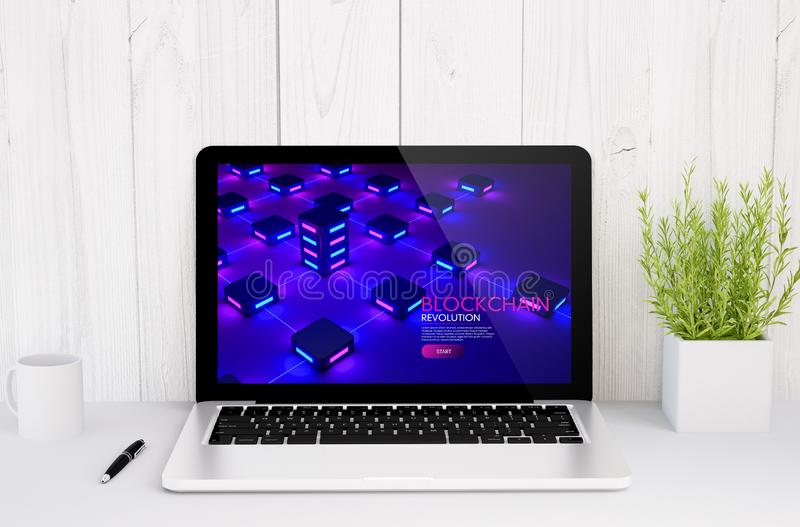 Laptop on table blockchain website design. 3d rendering of a laptop with blockchain website design screen on table royalty free stock image