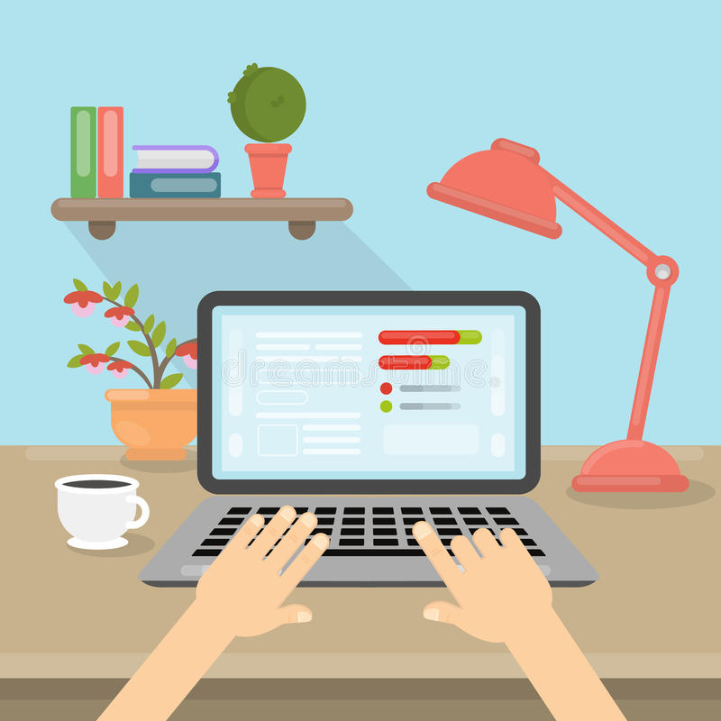 Laptop on table. Hands typing on laptop. Working at home or at office royalty free illustration