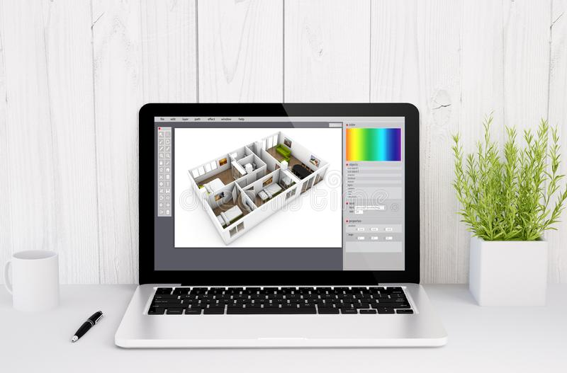 laptop on table interior design vector illustration