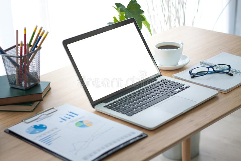 Laptop on table. Working place table. stock photo