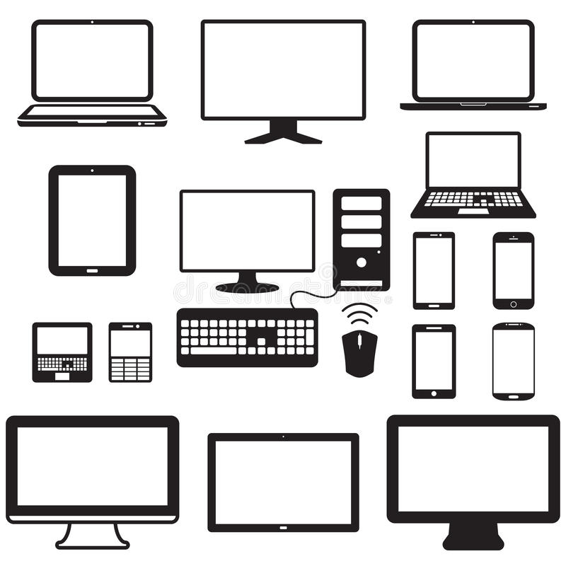Laptop, tablet computer, monitor and mobile screen. Vector Format stock illustration
