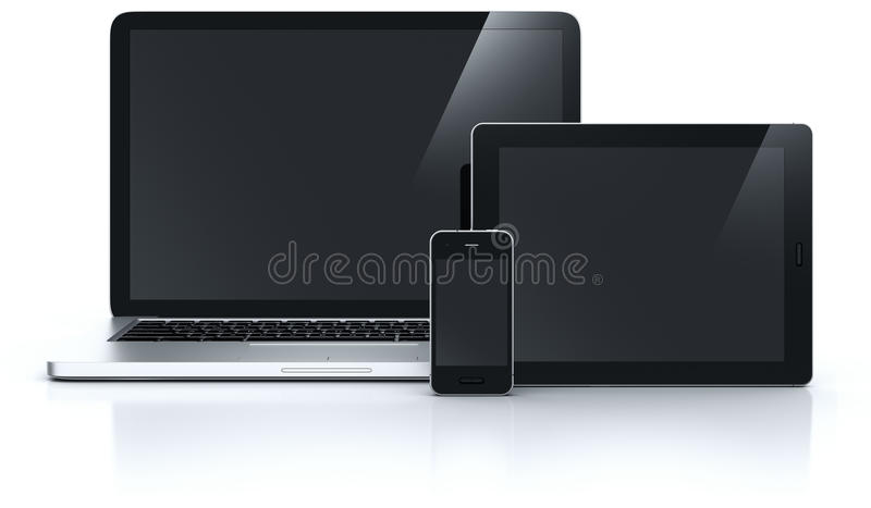 Laptop tablet en smartphone stock illustratie