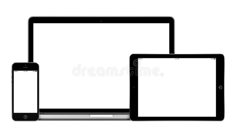 Laptop tablet pc computer and mobile smartphone with blank scree royalty free stock photo