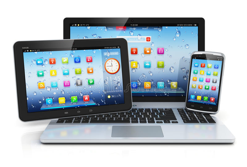 Laptop, tablet PC and smartphone.