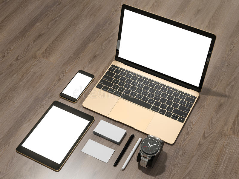 laptop  tablet  phone  all in one place stock illustration