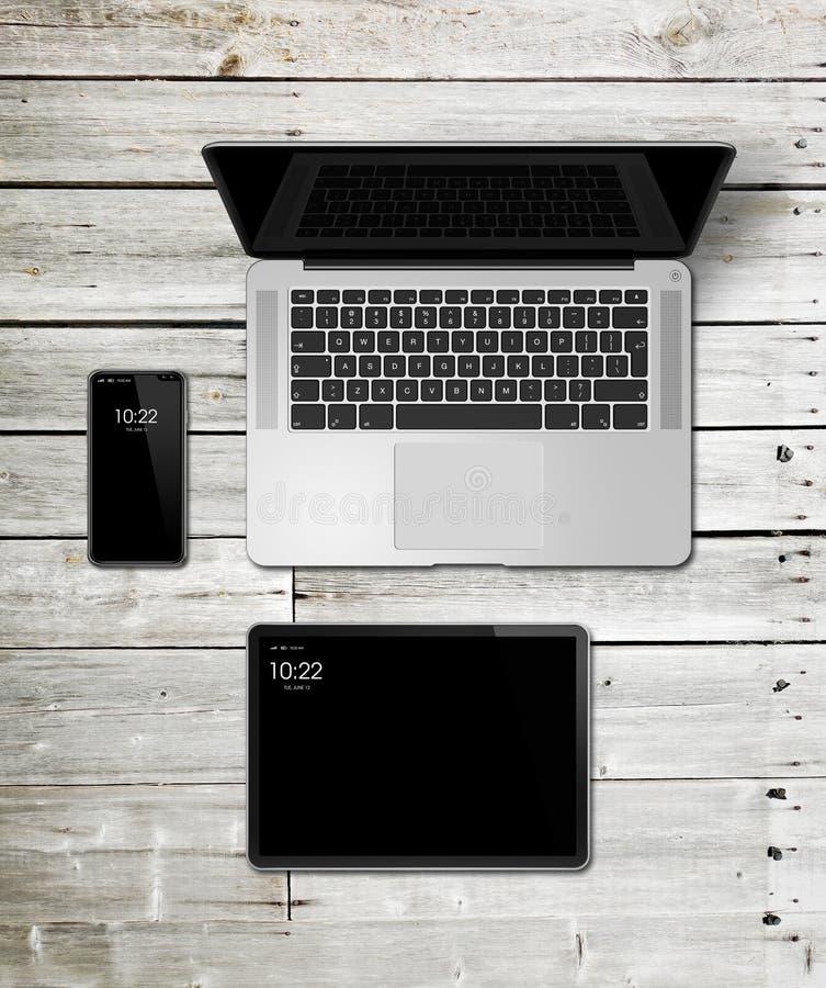 Laptop, tablet and phone set mockup on a wooden background. 3D render royalty free illustration