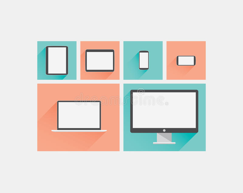Laptop, tablet, smartphone, computer display flat. Long shadow vector icons EPS10 stock illustration
