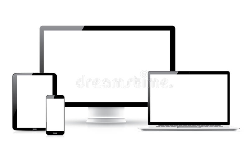 Laptop tablet smartphone computer isolations vector illustration