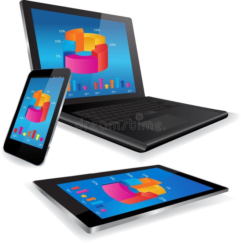 Laptop-Tablet und Smart rufen mit Geschäftsdiagramm an vektor abbildung