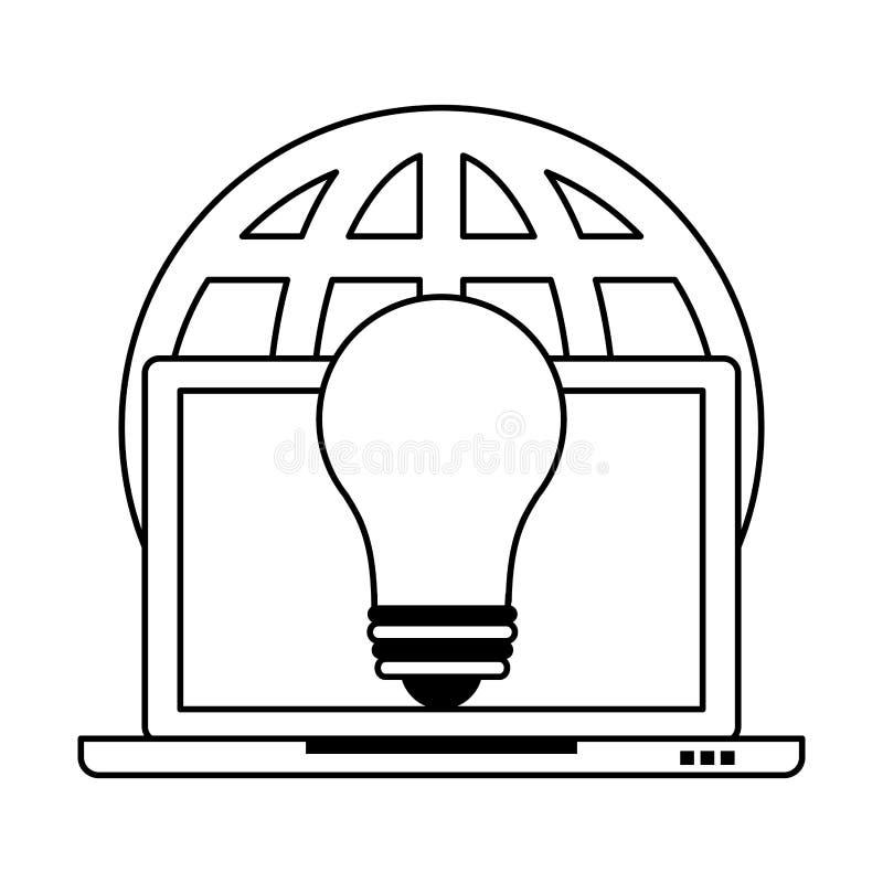 Laptop technologii narzędzia mobilna kreskówka w czarny i biały ilustracji