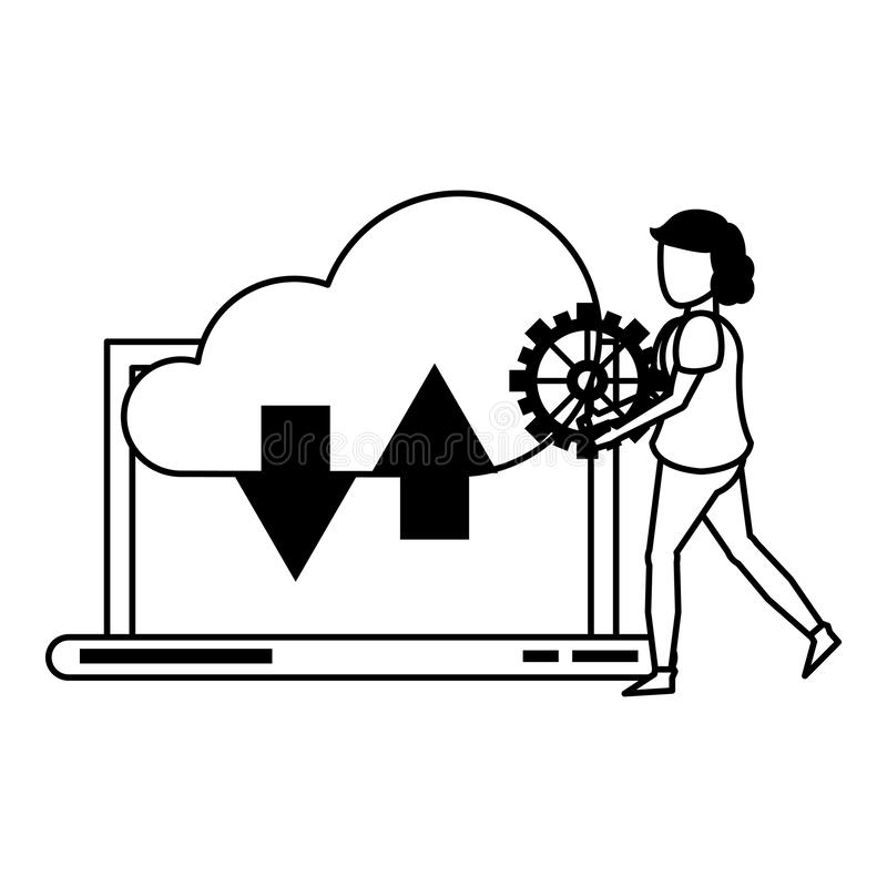 Laptop technologii narzędzia mobilna kreskówka w czarny i biały ilustracja wektor