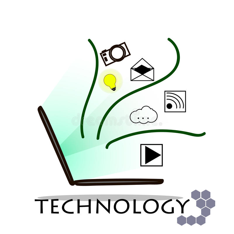 Laptop and technology on white background royalty free stock image