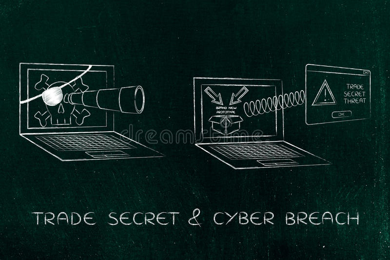 Laptop with with telescope spying on trade secrets, alert pop-up version. Pirate laptop with telescope spying on trade secrets on another laptop with royalty free stock photos
