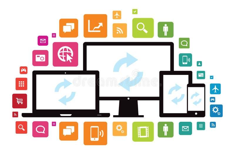 Laptop-Tischplattentablet-Smartphone-APP-Wolken-Synchronisierung vektor abbildung