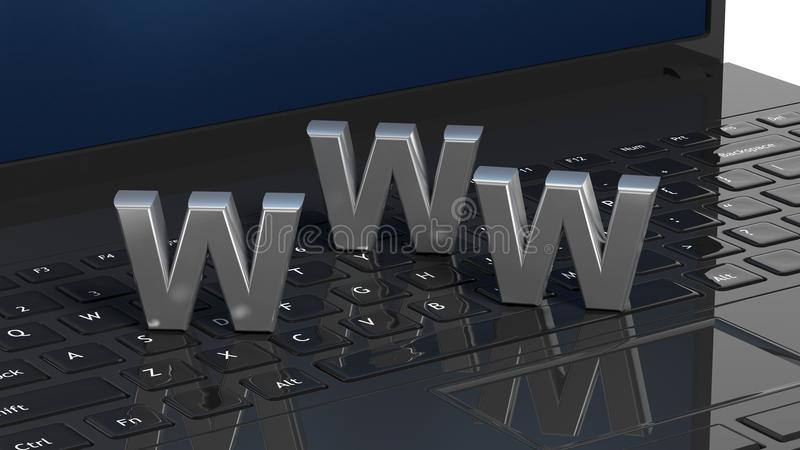 Laptop toetsenbord met 3d WWW-brief stock illustratie