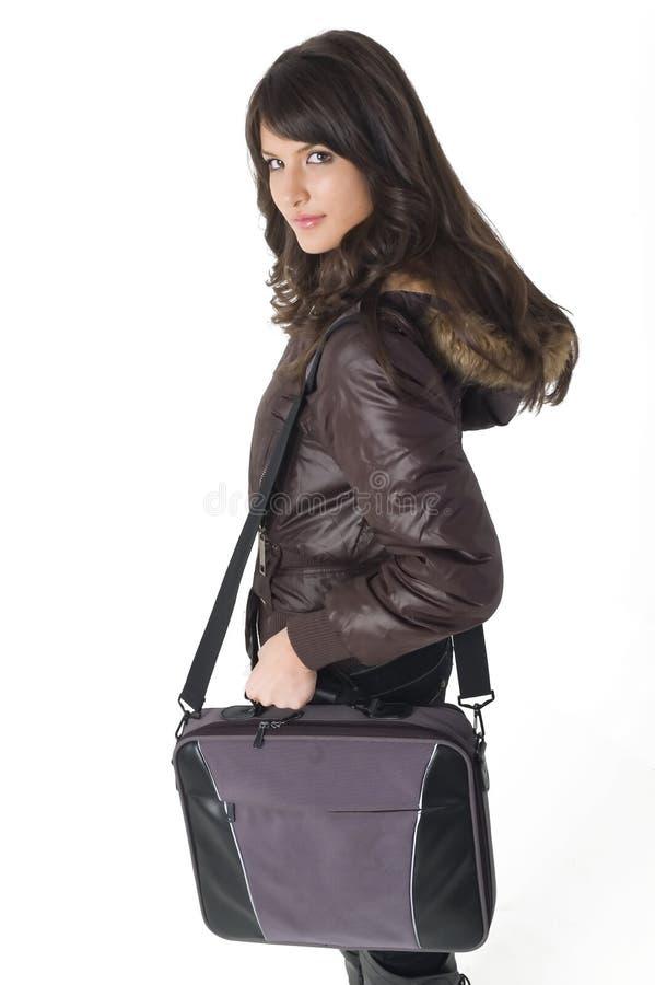 laptop torby dziewczyny fotografia stock