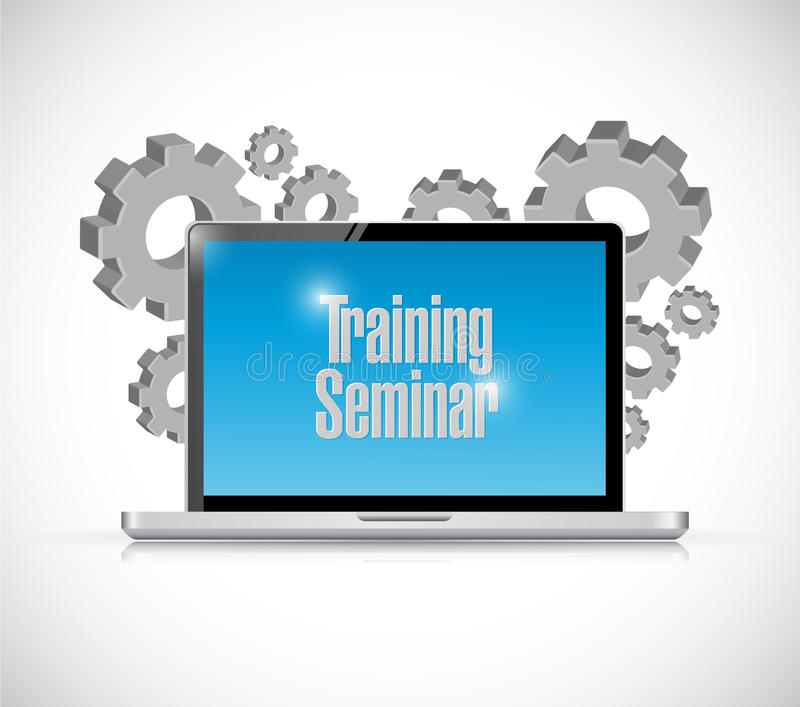 Laptop training seminar gear illustration design. Over a white background royalty free illustration