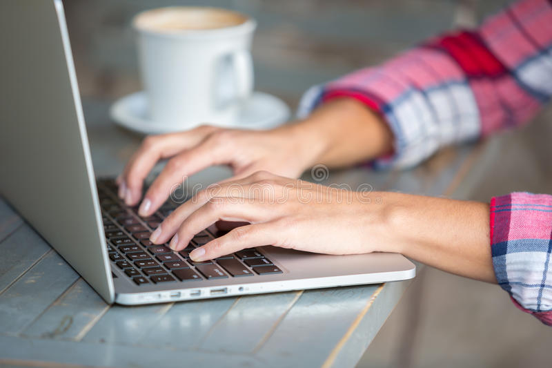 Laptop Typing Hands stock photography