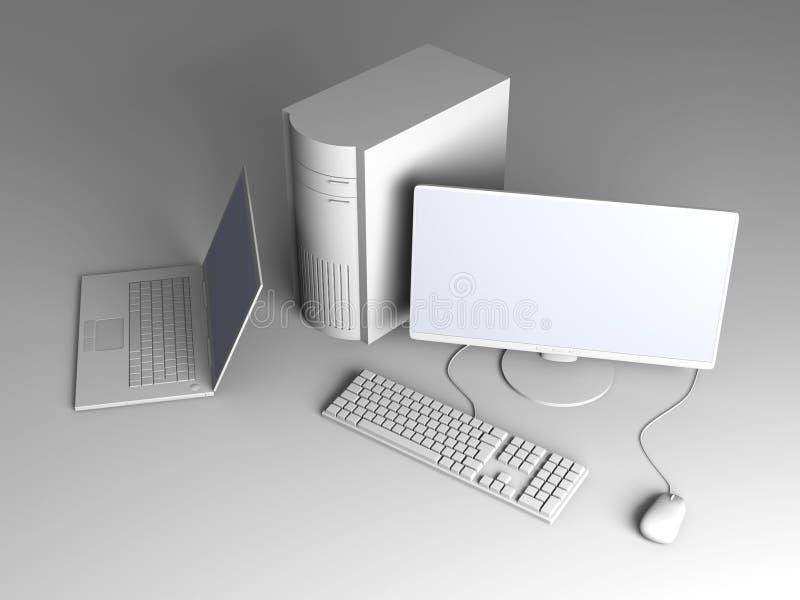 Laptop und Arbeitsplatzrechner lizenzfreie abbildung