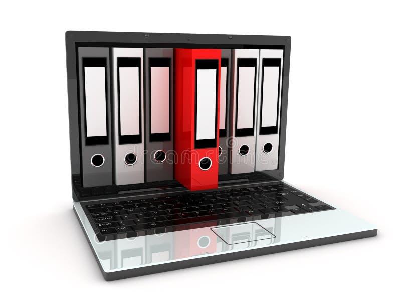 Laptop und Dateien lizenzfreie abbildung