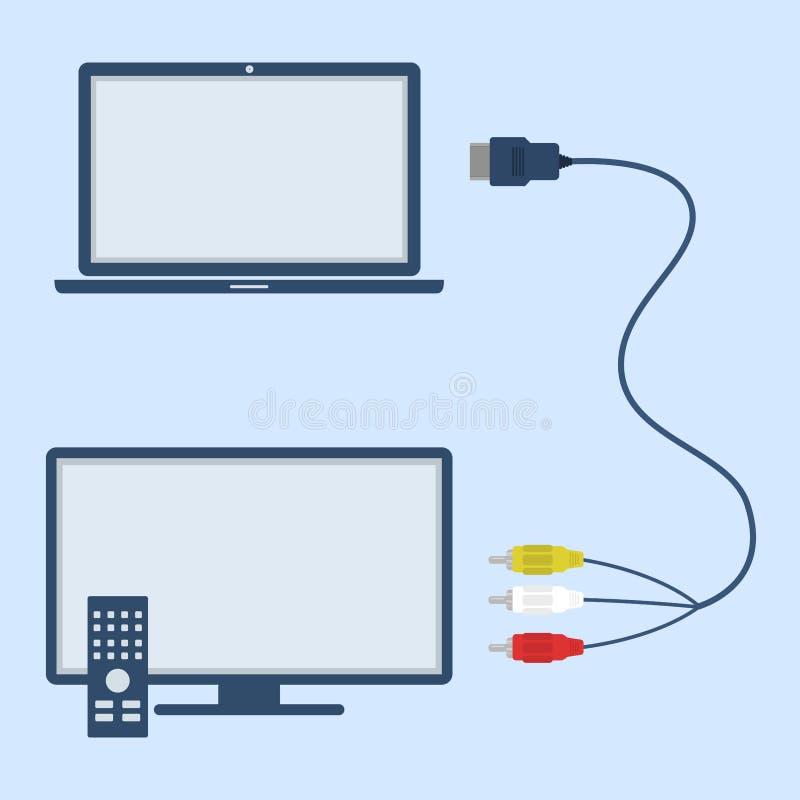 Laptop Und Fernsehen Mit RCA Und HDMI Verkabeln Vektor Abbildung ...