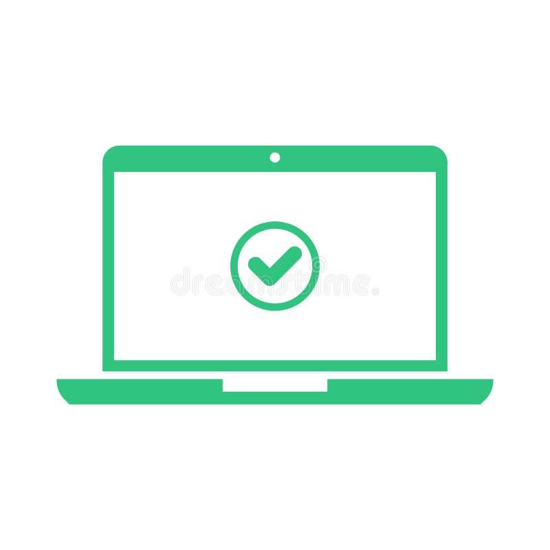 Laptop und Häkchen Notizbuch und runde grüne Zeckenikone, Prüfzeichen auf weißem Schirm Erfolgreiche Aktualisierung, nehmen an, o lizenzfreie abbildung