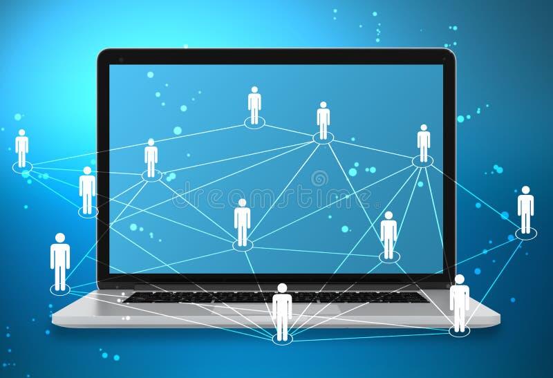 Laptop und Ikonenleute schließen Netz auf Welt an lizenzfreie abbildung