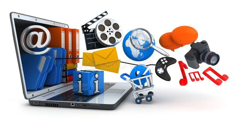 Laptop und Multimedia lizenzfreie abbildung