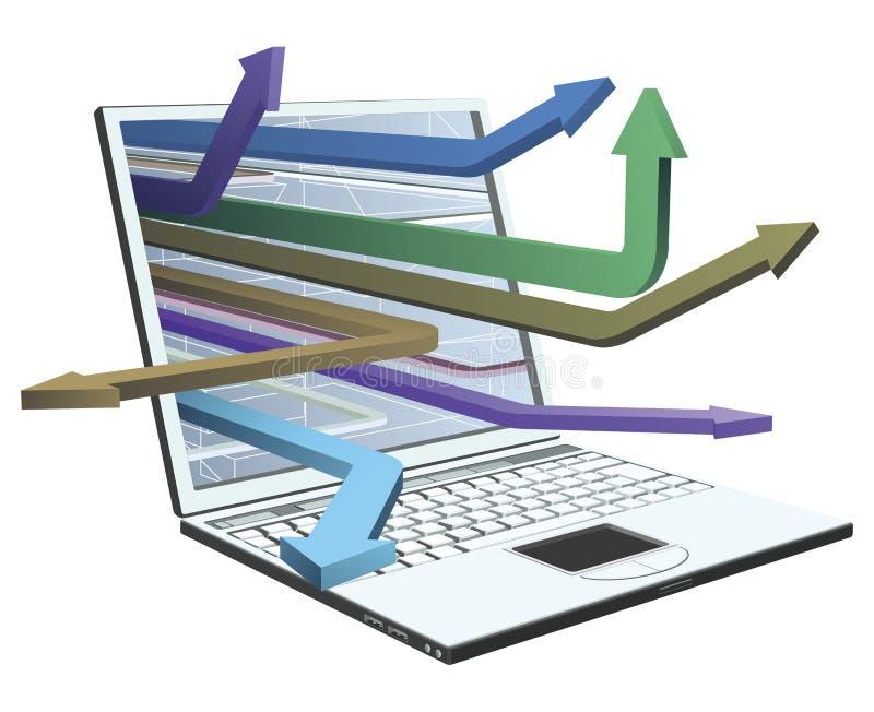 Laptop- und Pfeilkonzeptauslegung vektor abbildung