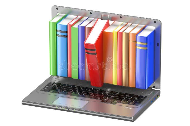 Laptop und Stapel Farbbücher lizenzfreie abbildung