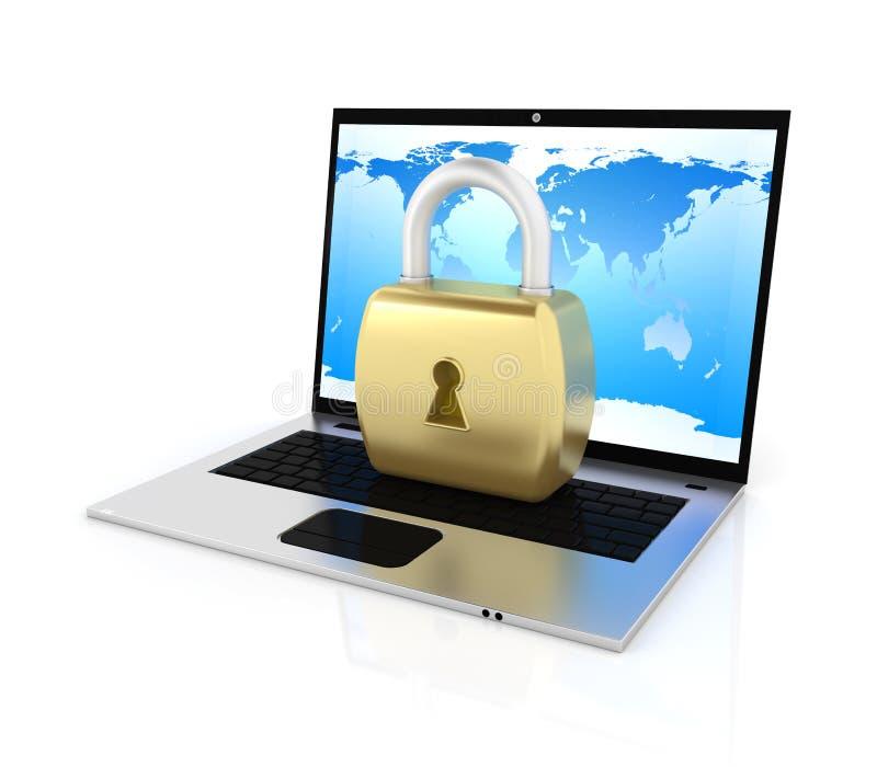Laptop und Verschluss lizenzfreie abbildung
