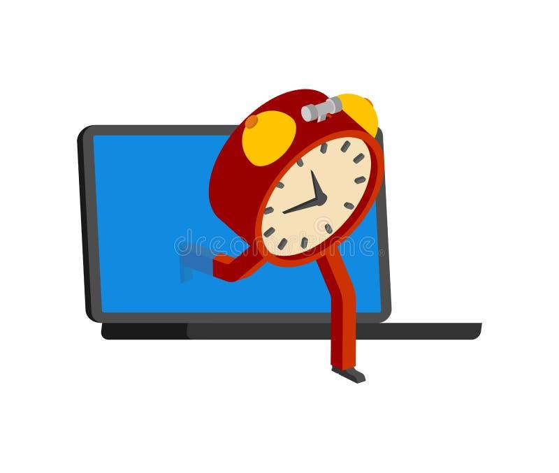 Laptop und Wecker Uhr gehen off-line Konzepthalt online Entweichen vom Internet lizenzfreie abbildung
