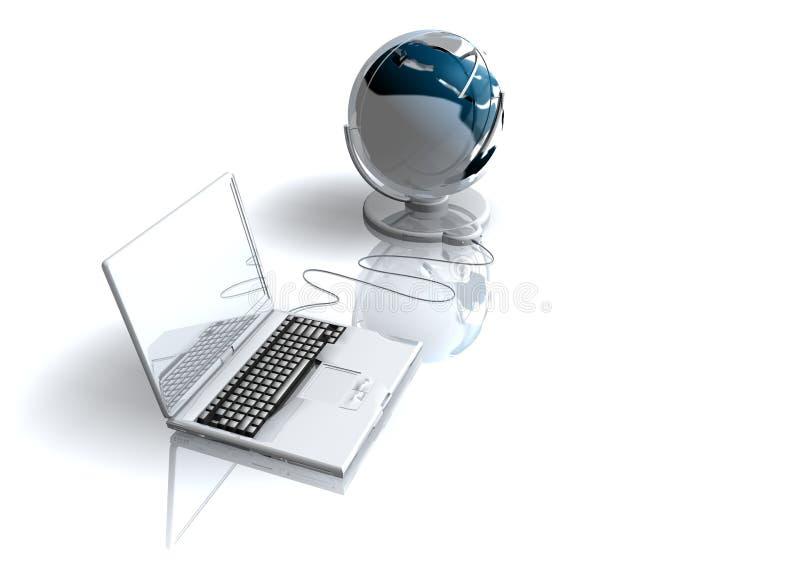 Laptop und Welt stock abbildung