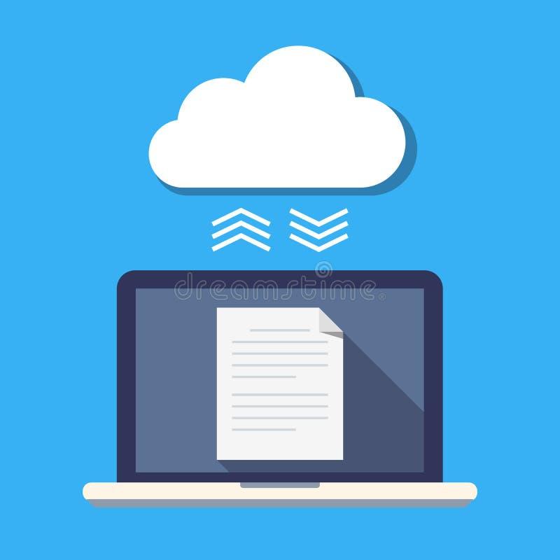 Laptop- und Wolkenspeicher Das Konzept der Dateisynchronisierung Sichern Sie Lagerung von Dokumenten Flache Vektorillustration vektor abbildung